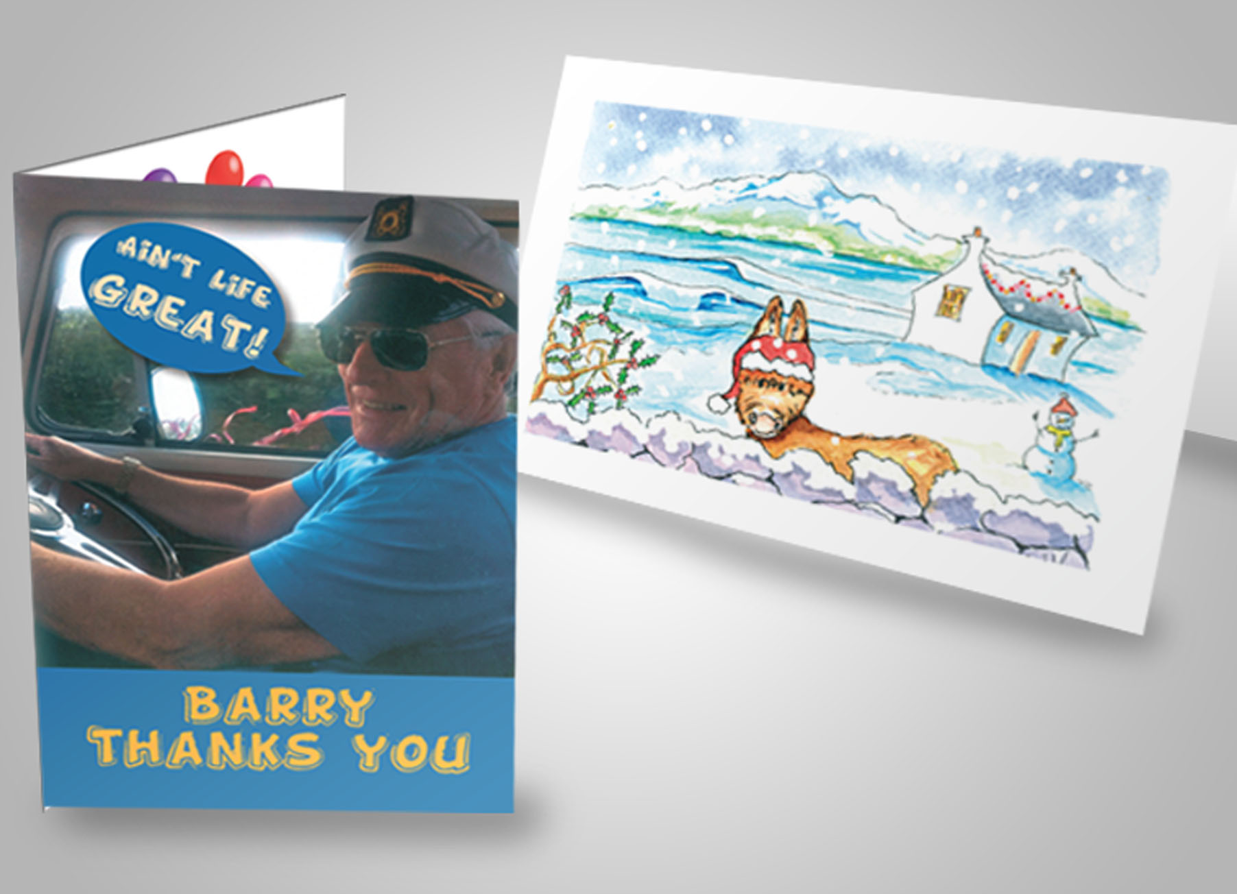 personalised thank you and greeting cards